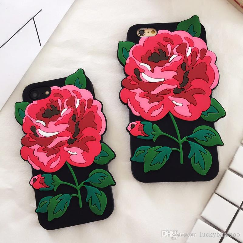 new concept 002e8 c532b Free DHL big green leaf fashion rose flower bud petal soft silicone cell  phones case For iPhone 6 6plus 7 7plus 8