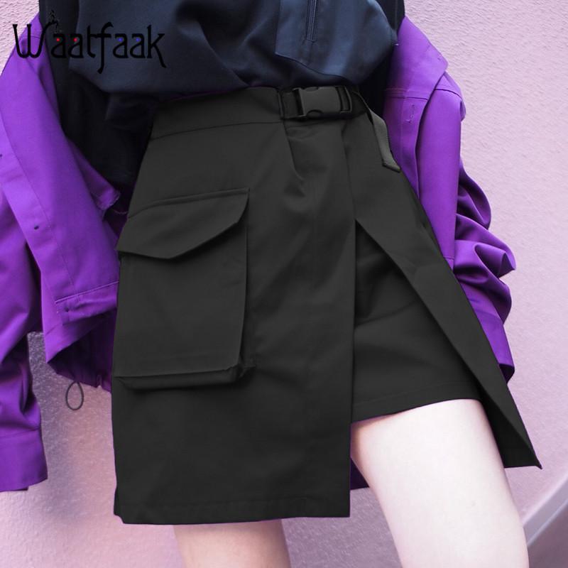 d12483c39 Waatfaak Hebilla Cinturón Bolsillo Acolchado Mini Falda Mujer Empalme Moda  Cintura Elástica Alta Streetwear Faldas Negras Tejidas Delgadas 2018