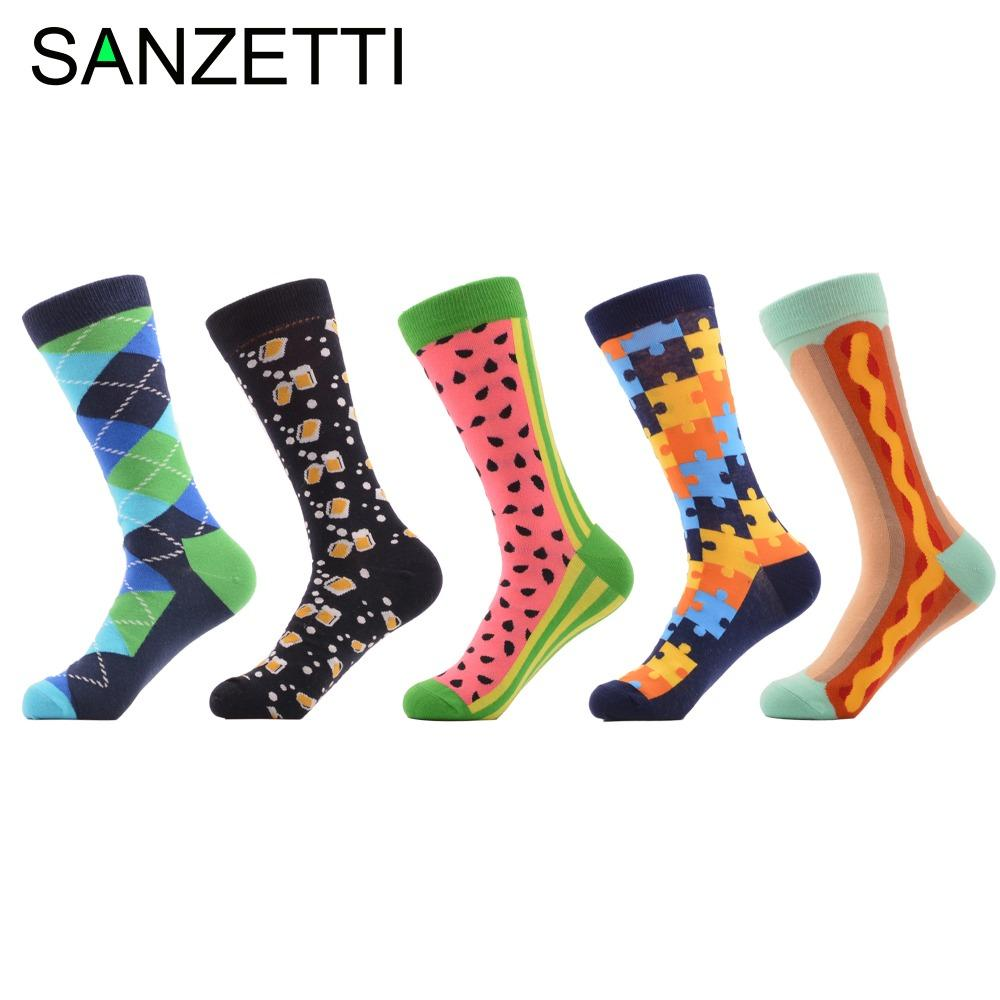 4a47a60076 SANZETTI Men's Novelty Funny Socks Combed Cotton Crew Socks for Man ...