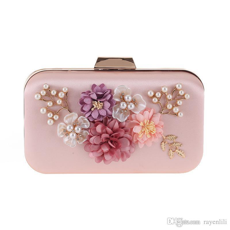 Vintage Women Bridal Floral Evening Bag Pearl Flower Beaded Clutch ... 05dd53aab256
