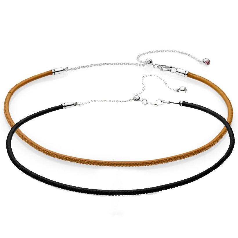 2e83c916d2e 2019 New 925 Sterling Silver Necklace Leather Choker With Adjustable  Sliding Clasp Necklace For Women Wedding Gift Europe Jewelry From Boiline,  ...
