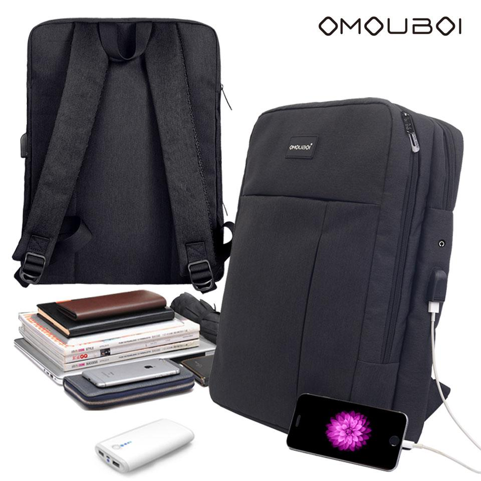 Shockproof Black School Bag W USB Port   Earphone Outlet Water Resistant  Slim Outdoor Leisure School Backpack By OMOUBOI For 15.6  Laptop Shockproof  ... dbf231d0318a7