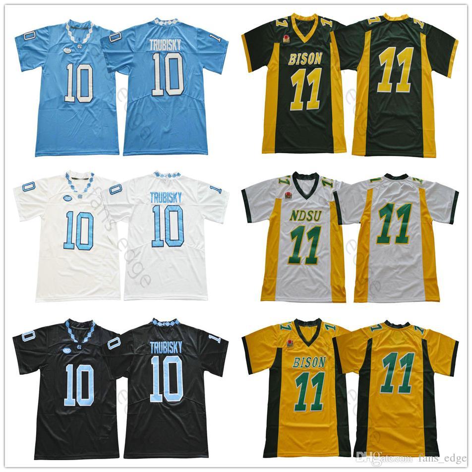 size 40 aded5 032a7 NCAA North Carolina College 10 Mitch Trubisky Jersey Blue White Black North  Dakota State Bison 11 Carson Wentz Green Yellow Football Jerseys