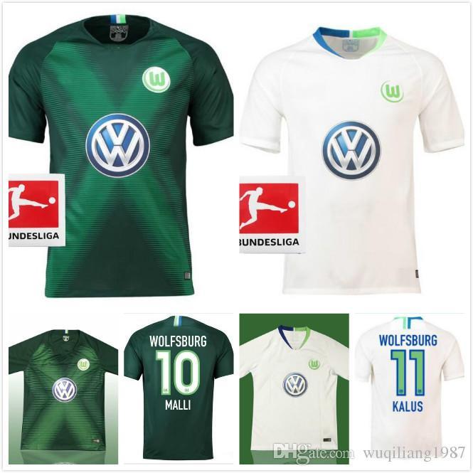 Compre 2018 2019 Alemanha VfL Wolfsburg Camisa De Futebol 18 19 Home Klaus  Distância Malli VfL Wolfsburg Mehmedi ROUSSILLION Ntep Guilavogui Camisas  De ... fbf4ed99d84d0