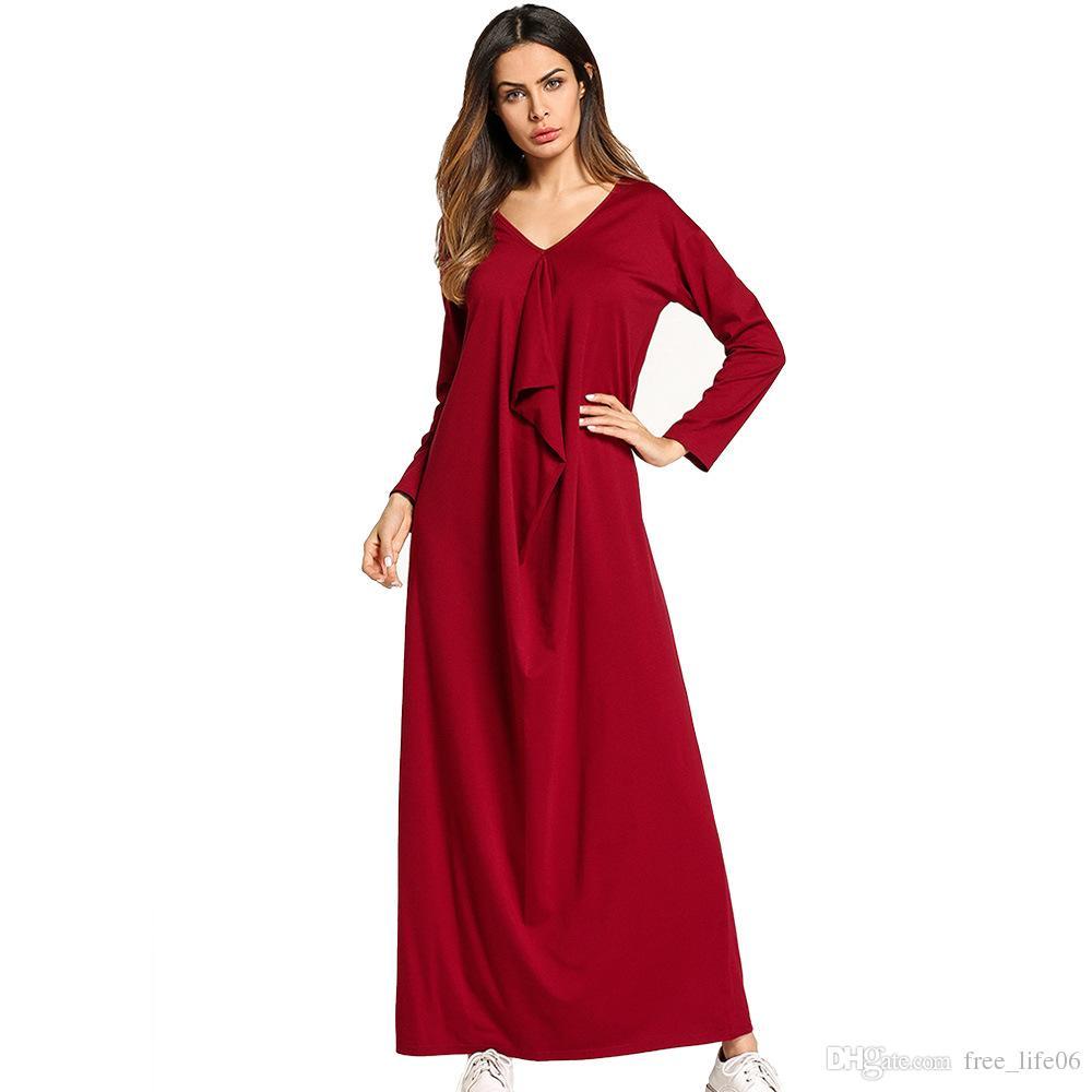 Compre Vestido Maxi Para Mujer Sólidos Volantes Drapeados Diseño ...