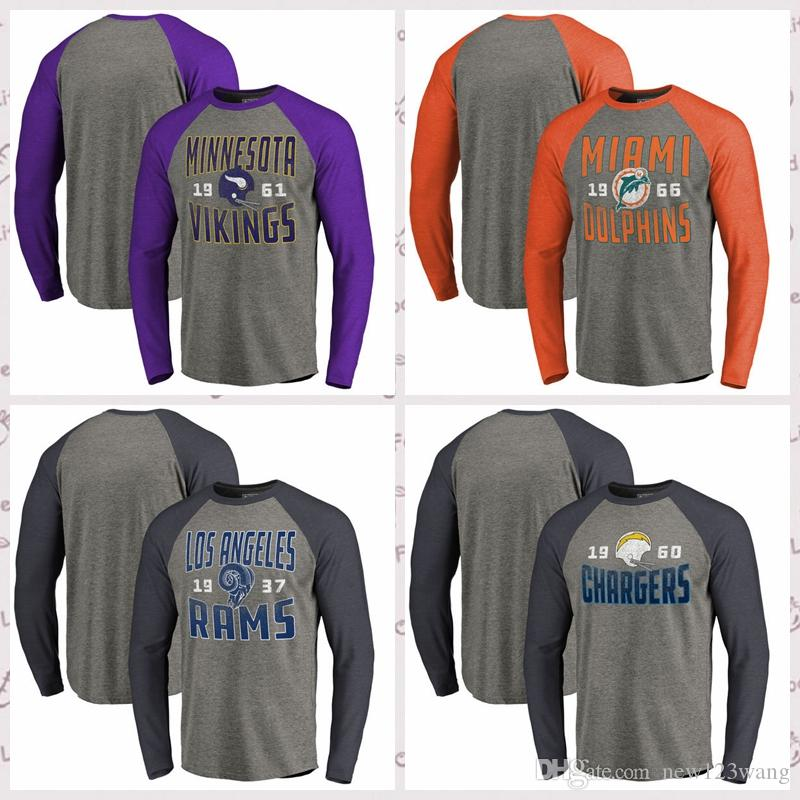 494e718e Minnesota Vikings Miami Dolphins Los Angeles Rams Pro Line by Fanatics  Branded Timeless Collection Antique Stack Long Sleeve Raglan T-Shirt