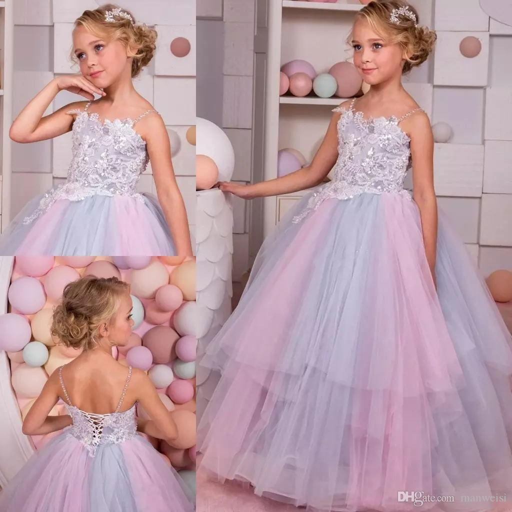 7b6324ce933ed Rainbow Glitz Flower Girls Dresses For Weddings 2018 Spaghetti Neck Crystal  Kids Ball Gowns Floor Length Teens Pageant Dress