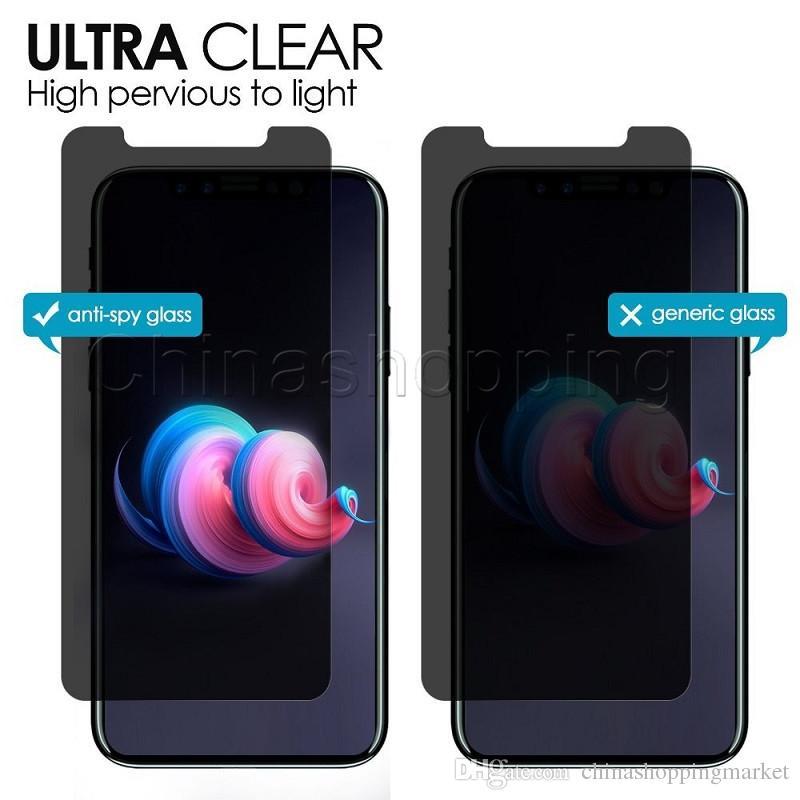 الخصوصية الزجاج المقسى مكافحة التجسس يبصر شاشة حامي للحصول على اي فون برو 11 ماكس X XR إكسس ماكس 8 7 6 6S زائد مع حزمة البيع بالتجزئة