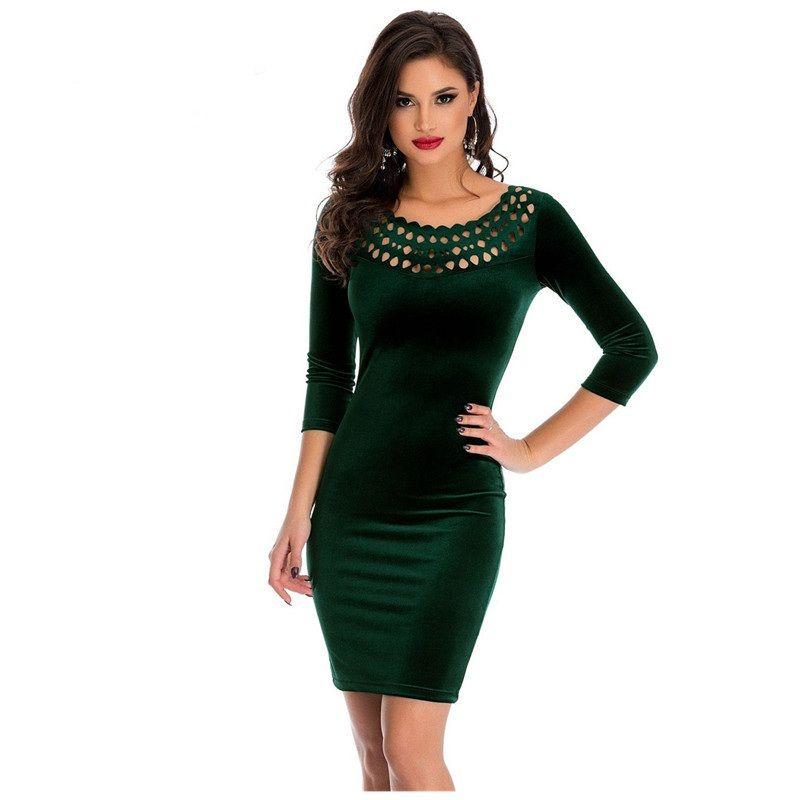 2018 Designer Woman Dresses Office Clothes Bodycon Hollow Out Round Neck  Sleeved Autumn Velvet Sheath Dark Green Dress Evening Dresses Online Cheap  Party ... 20552a96572d