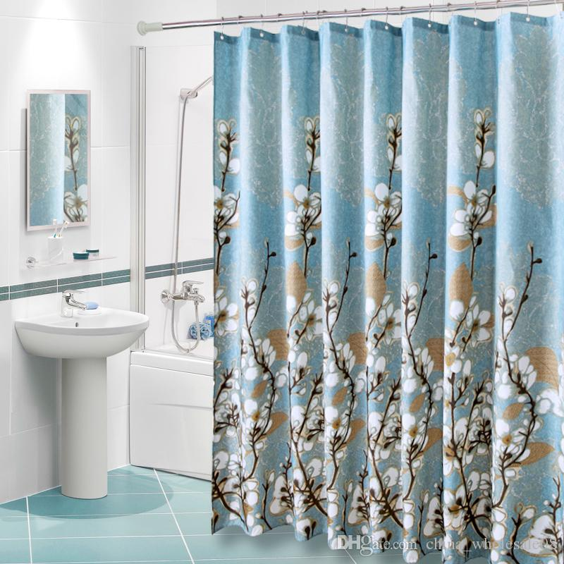 2019 Polyester Fabric Shower Curtain Waterproof Home Bathroom