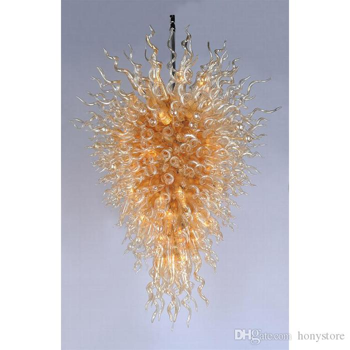 Italian Foyer Large Golden Chandelier High Quality Beautiful Hand Blown Art Glass Crystal Light Fixture For Hotel Lobbby