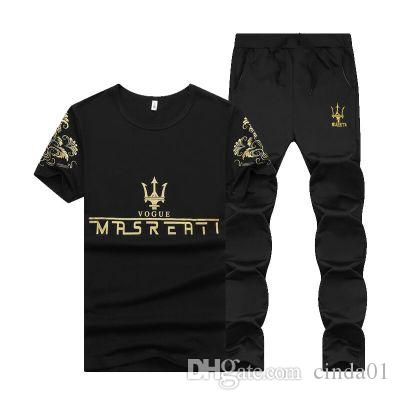 Summer Men Sport Tracksuit MRSREATI Printed Slim Cool Short Sleeves T-shirt With Joggers Pants Casual Suit
