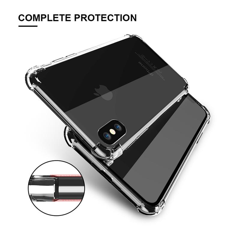 Classic Anti-knock TPU Case For iPhone X iPhone 7 8 Plus Clear Silicon Shockproof Cover For iPhone X Cases Accessories