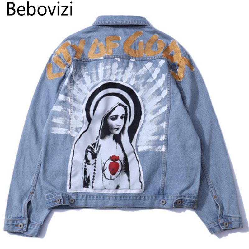 Satın Al Bebovizi Marka Vintage Meryem Boyama Baskı Kot Ceketler Hip