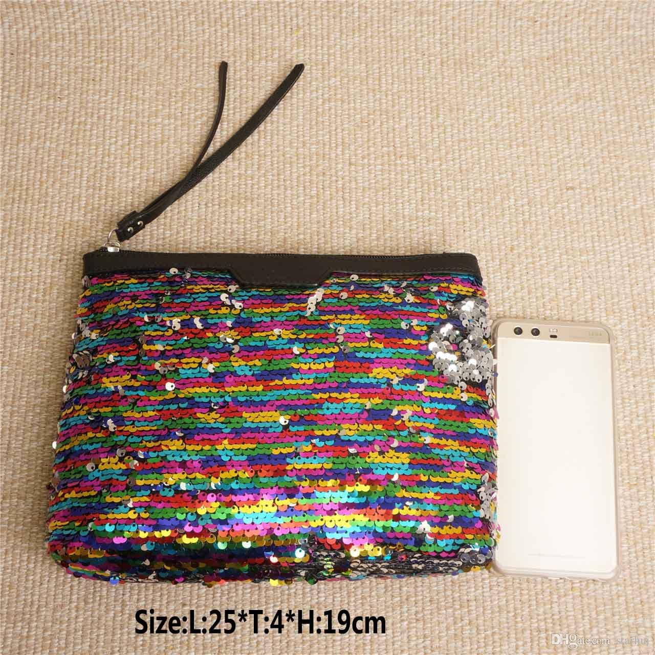 Luxo Sequins Storage Bag For Women Cosmetic Makeup Mermaid Clutch Handbag Início Moedas Organização Armazenamento WX9-362