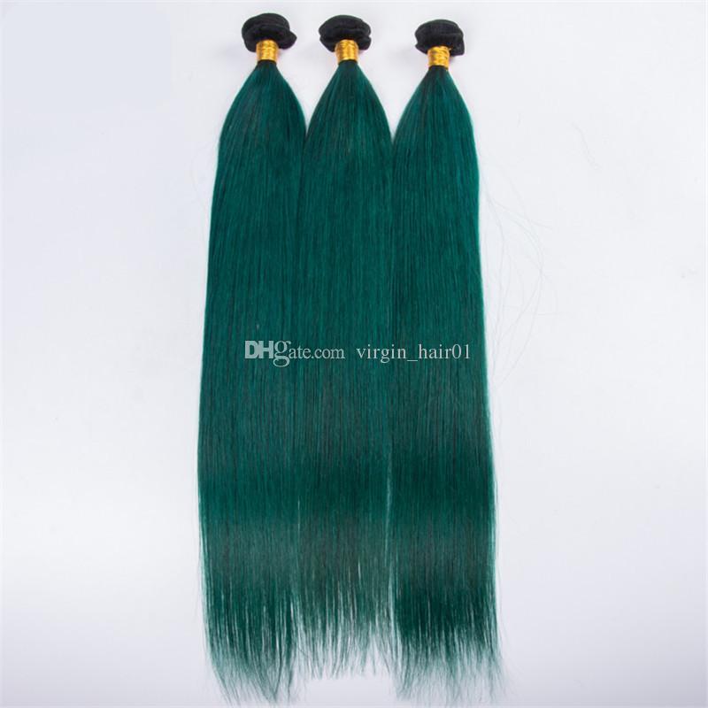 Frontal Koyu Kökleri Ile yeşil Ombre Saç 1b Yeşil İnsan Saç Dantel Frontal Düz Brezilyalı Bakire Saç Atkı Ile Örgüleri