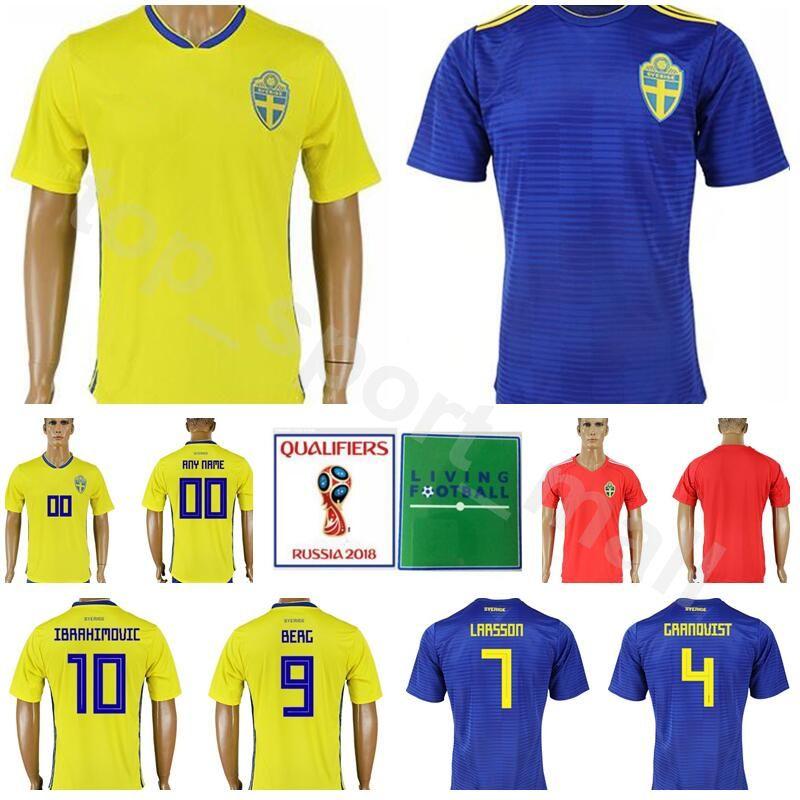 ac853dc22 2019 2018 World Cup Sweden Soccer Jersey Men 10 IBRAHIMOVIC 9 BERG 7  LARSSON Football Shirt Kits 20 TOIVONEN 4 GRANQVIST Custom Name Number From  ...