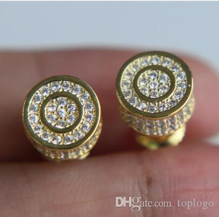 d3492df22 2019 4 Styles Men Women Fashion Ear Jewelry Micro Pave Cz Gold Filled  Screwback Hip Hop Bling Round Studs Earring From Toplogo, $6.04 | DHgate.Com