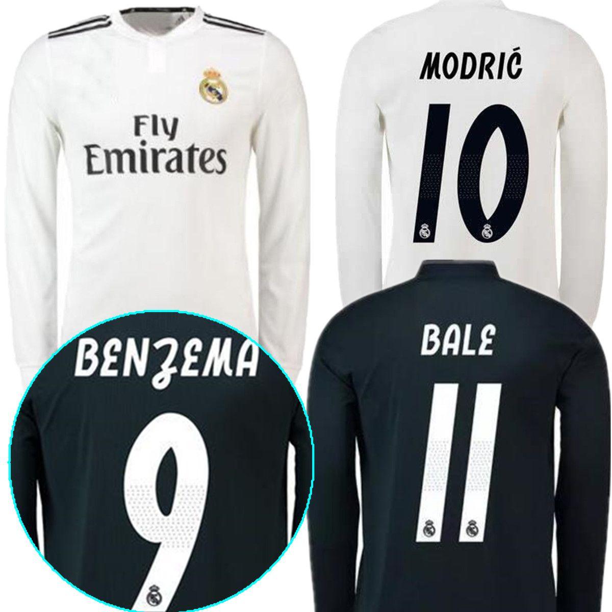 18 19 Real Madrid Camiseta De Manga Larga RONALDO Soccer Jersey 2019 Blanco  RAMOS KROOS ISCO ASENSIO MODRIC MARCELO BALE BENZEMA Camisetas De Fútbol  Por ... 3dc0b2ac5d19d