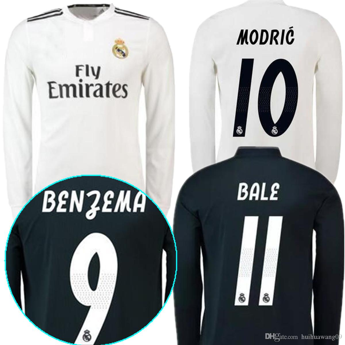 4dab6364b 2019 18 19 Real Madrid Long Sleeve RONALDO Soccer Jersey 2019 Home White  RAMOS KROOS ISCO ASENSIO MODRIC MARCELO BALE BENZEMA Football Shirts From  ...