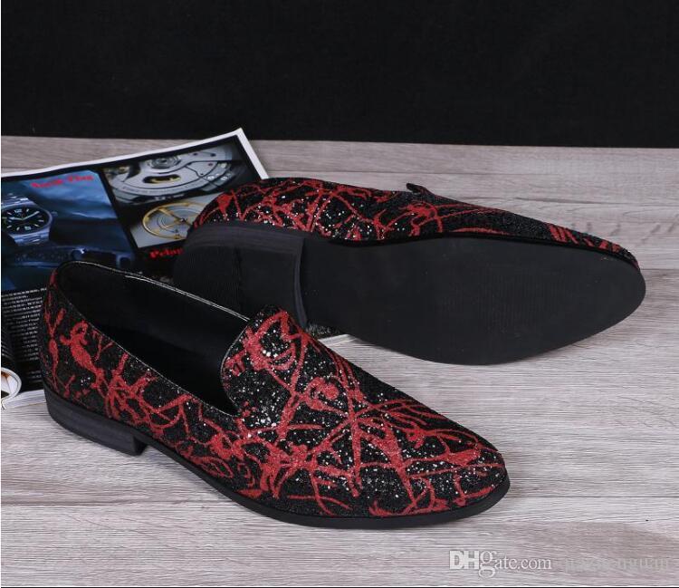 Новый стиль мужчины красный черный бархат ручной работы квартиры обувь Мода свадьба и партия мужчины платье обувь плюс размер мужчины мокасины M494