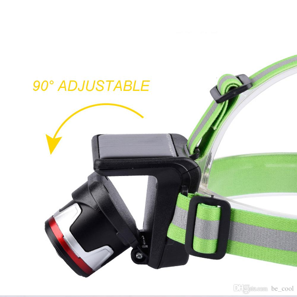 CREE XPM LED Focus Adjustable Headlamps With SOLAR PANEL and Wall Charger Waterproof LED Headlights Built-in Rechargeable Li-ion Battery