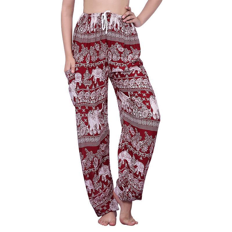 7515b9f361 Compre Pantalones De Cintura Alta De Las Mujeres Bohemio Con Cordones De  Elefante De Impresión Harem Pantalones Boho Camo Pantalones Sueltos  Pantalones ...