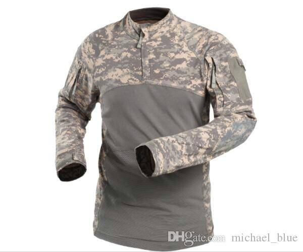 New Arrivals Airsoft Combat Shirts For Outdoor Hunting Cotton Made Elastic Long Sleeves Sports Tactical T-shirts