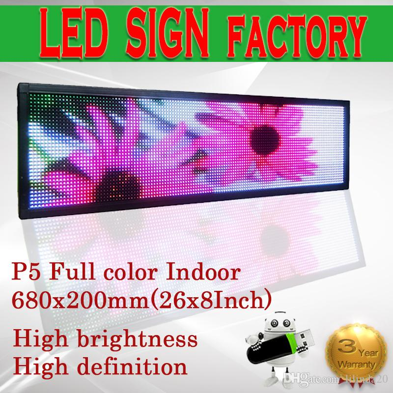 Free shipping 26X8 inch P5 USB LED display control indoor full color  scrolling programmable LED SIGN text led sign