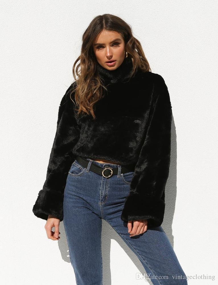 6bb02199fa78c 2019 Fashion Women Long Sleeve Loose Turtleneck Sweater Crop Top Coat  Pullover Tops Casual Women Black Winter Clothes From Vintageclothing, $58.6  | DHgate.