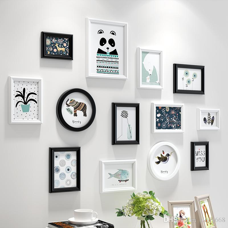 2018 White&Black Simple Style Wall Hanging Photo Frames Set Wooden ...