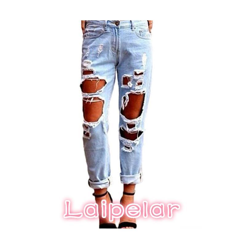 0df3e9eccef 2018 Boyfriend Light Blue Ripped Hole Jeans for Women Hollow out ...