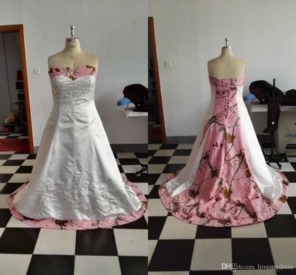 bd35b4e1464 Discount Pink Camo Wedding Dress 2018 Embroidery Plus Size Custom Made For  Women Cheap Sweetheart A Line White Satin Designer Lace Up Back Bridal  White ...