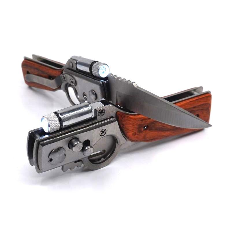 AK47 Folding Knife EDC Gun LED Knife 440 Steel Blade Pakka Wood Handle Pocket Tactical Camping Outdoors Survival Knives Hand Tools
