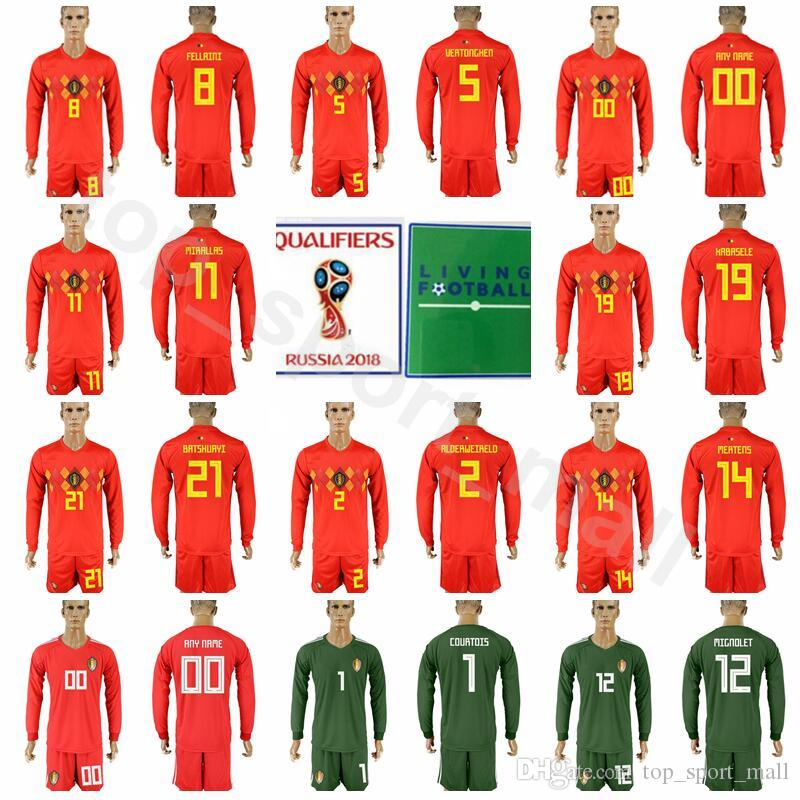 8f6e50f9d69 Long Sleeve Belgium Jersey Set Men Soccer 21 BATSHUAYI 8 FELLAINI ...