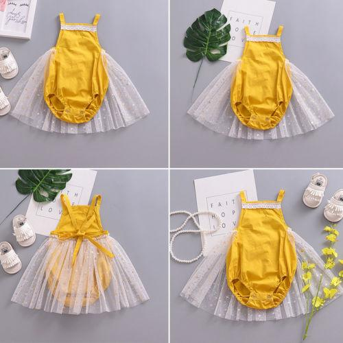 897b27247b23 2019 Pudcoco New Style Yellow Romper Mesh Dress Kid Baby Girl Strappy Romper  Bodysuit Tutu Dress Newborn Summer Clothes Outfits From Sightly