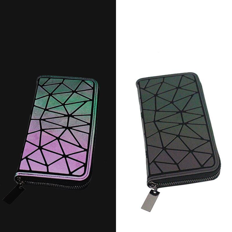Women Long Wallet Geometric Luminous Female Min Clutch Bags Multifunction Wallet Purse Card Holder
