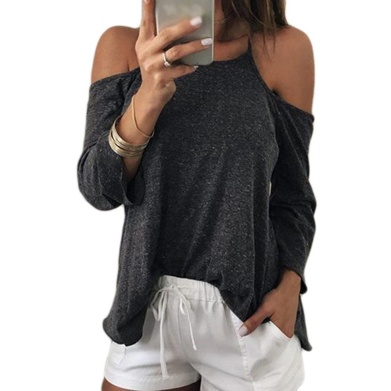 b1b0d1447021 Long Sleeve New 2019 Women'S T Shirt Off Shoulder Halter Strap Sexy  Backless Women Shirt Tops Dark Grey Female Clothing Blusa Design Your Own T  Shirts ...
