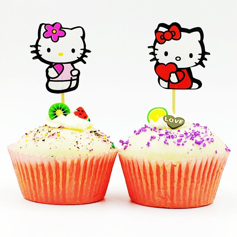 2019 Hello Kitty Cupcake Topper Pick Party Supplies Cartoon Cat