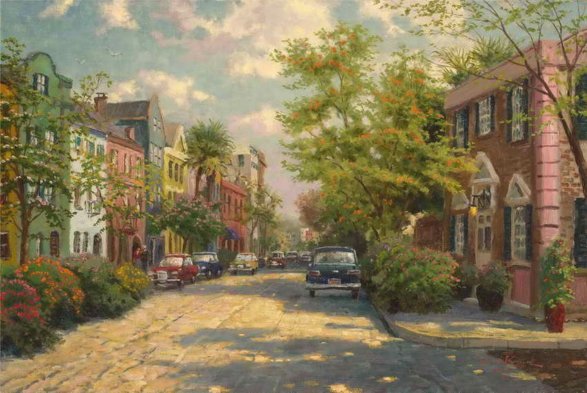8d468d0036b 2019 Rainbow Row Charleston Thomas Kinkade Oil Paintings Art Wall Modern HD  Print On Canvas Decoration No Frame From Eb0cn0741