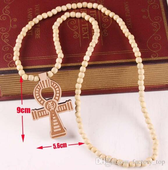 DHL Hip Hop Cross Ankh Pendant Necklace With Wooden Beads Chain Religionary Fashion Jewelry for Women Men