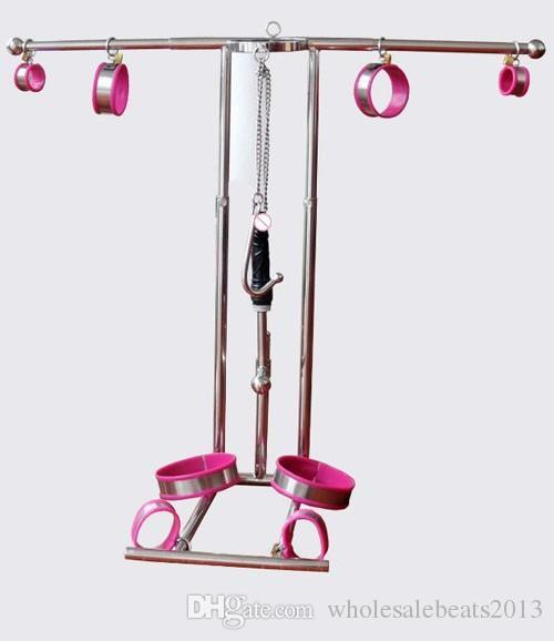 Sex machine Top stainless steel sm bondage frame torture device arm wrist leg ankle restraint handcuffs neck corset collar anal hook dildo