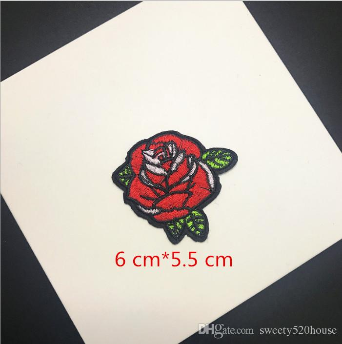 Top Patches Iron-on Sew-on Red Rose Flower Embroidery Patch Motif Applique Children Women DIY Clothes Sticker Wedding