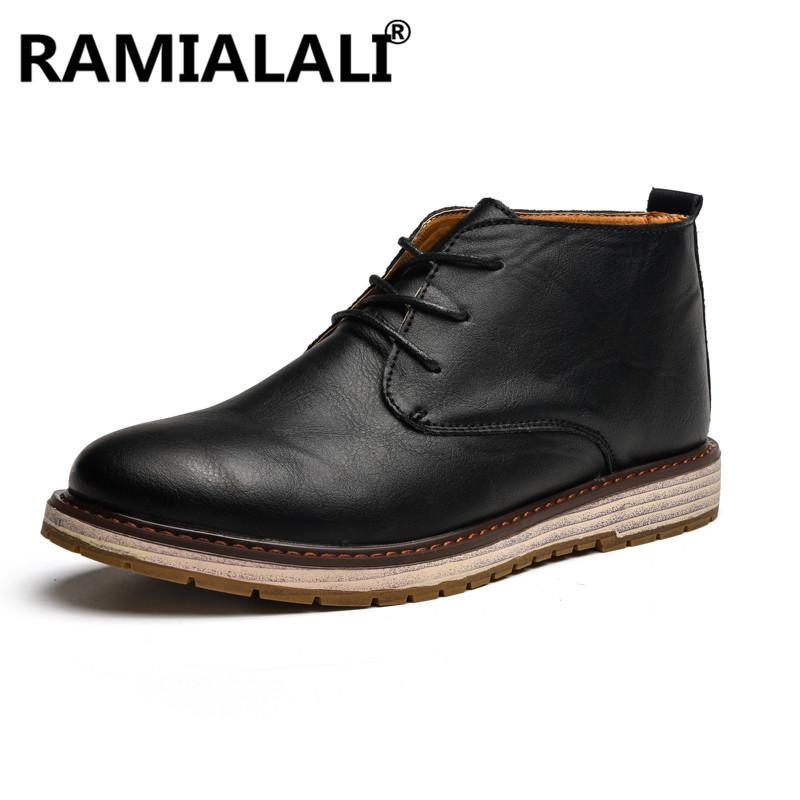 c6d322fd73 Compre Botas De Cuero Para Hombre Otoño Invierno Botines De Moda Calzado  Con Cordones Zapatos Negros Para Hombres Zapatos De Alta Calidad Para Hombre  De ...