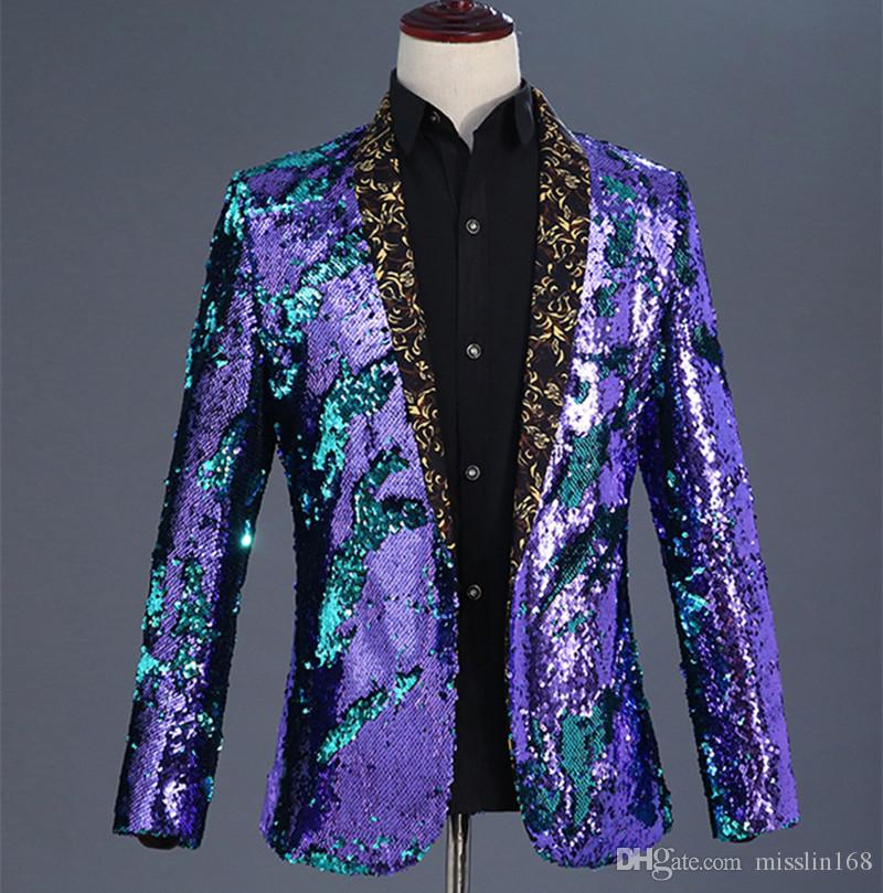 a89c655c6eafe 2019 Sparkly Flipping Sequins Blazers Coat Men Stage Costume High Quality  Fashion Popular Jacket Outerwear Prom Nightclub DJ Singer Host Clothing  From ...
