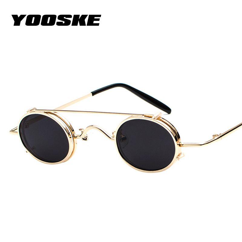 7e3da134374 YOOSKE Steampunk Sunglasses Men Women Oval Clip On Sun Glasses ...