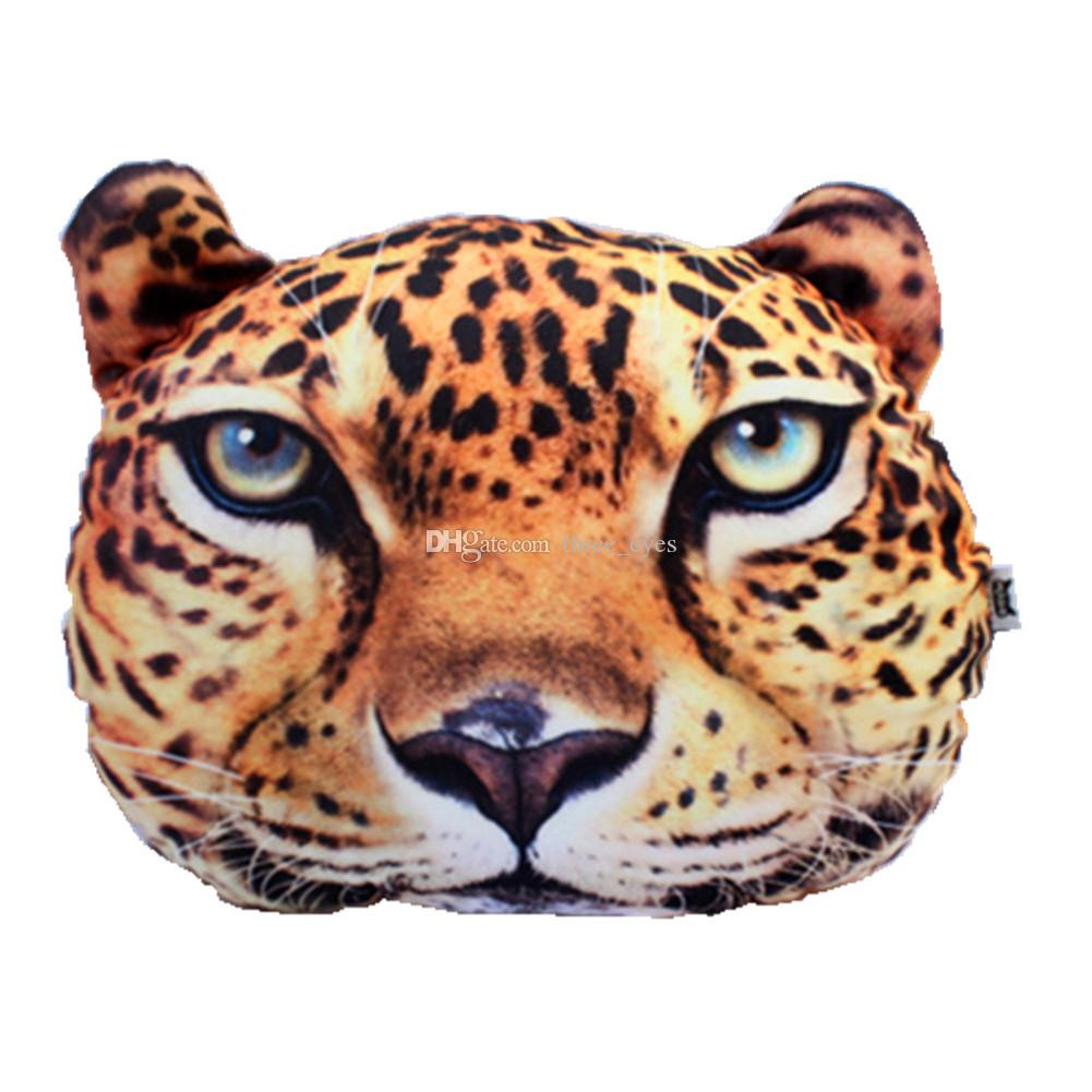 Car Seat Driving Pillow Headrest 3D Cute Animal LEOPARD Gift Pillow With Activated Carbon Car Travelling Pillow