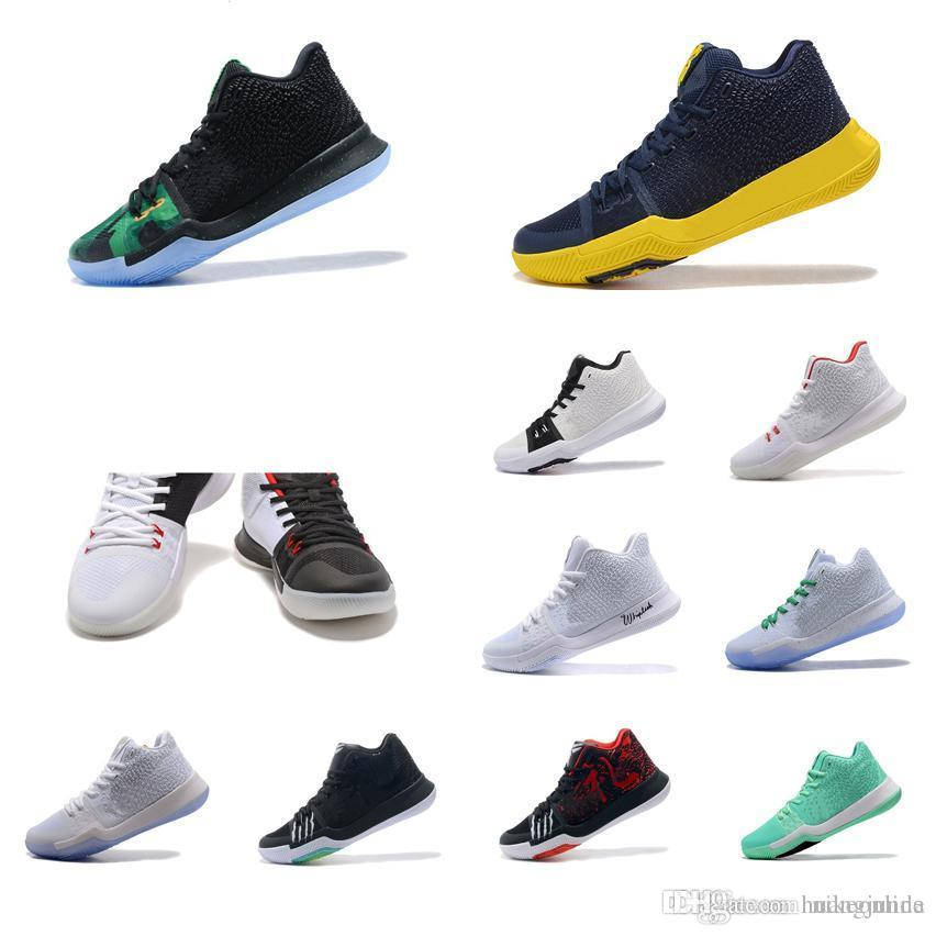 big sale 4f354 16b84 Cheap New Mens Kyrie Irving 3 basketball shoes Green Glow White Gold Navy  Yellow Black Red sneakers boots tennis with box for sale