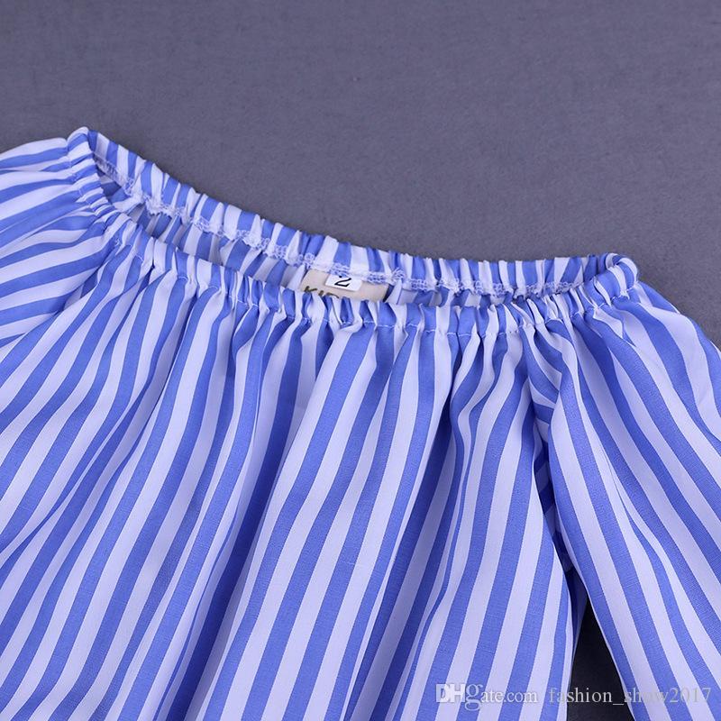 جديد رعاة البقر الفتيات أزياء شعبية الدنيم السراويل مخطط الأزرق القمصان والسراويل الطويلة الأطفال البدلة