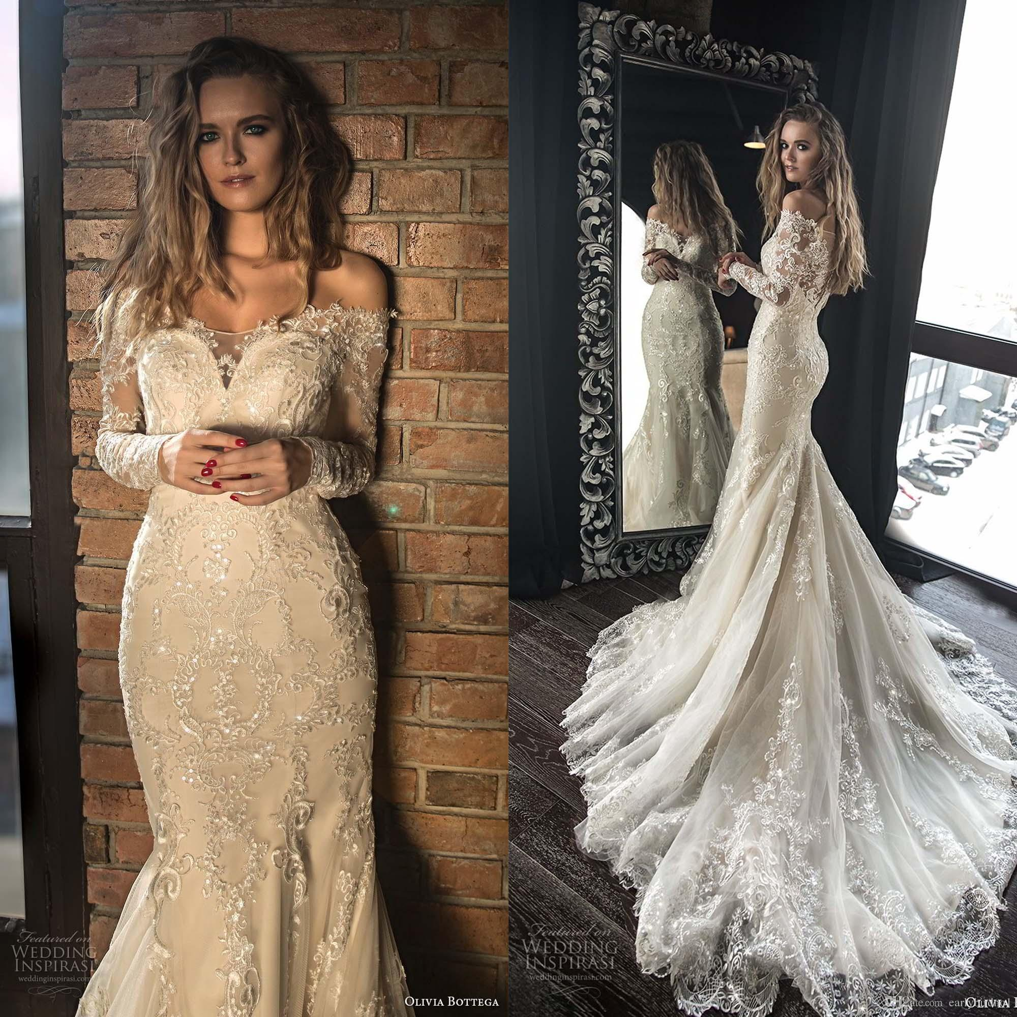 2018 Elegant Wedding Dress Mermaid With Long Sleeves Embroidery Bodice Lace  Applique Sweetheart Neckline Sweep Train Bridal Gowns Beautiful Lace Wedding  ... da559d1679c7